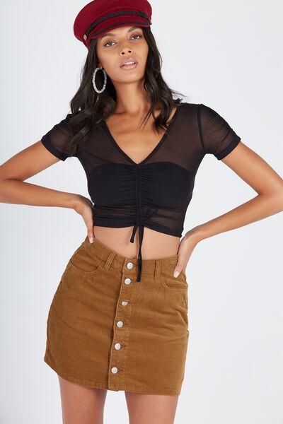 Button Through Cord Mini Skirt, TAN
