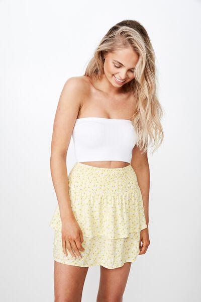 Poppy Shirred Waist Tiered Skirt, TIA YELLOW DITSY