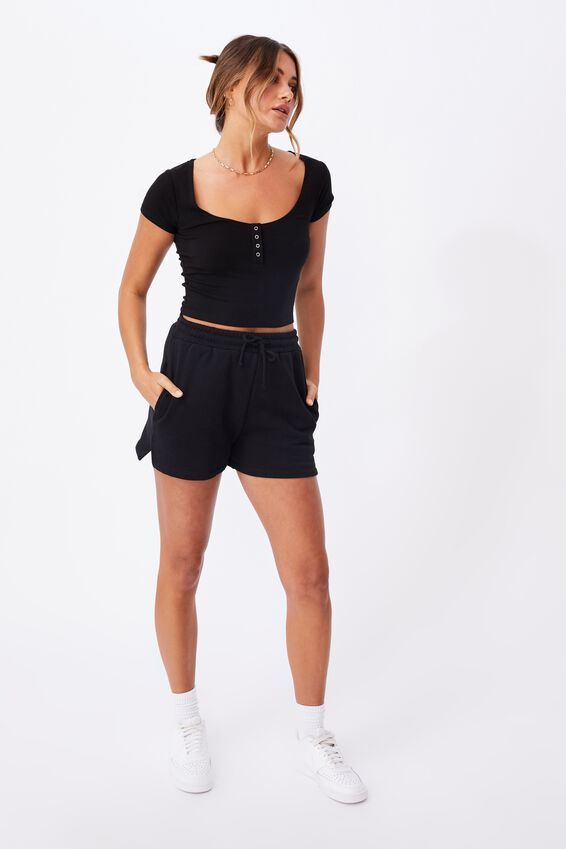 Laney Snap Button Short Sleeve Top, BLACK
