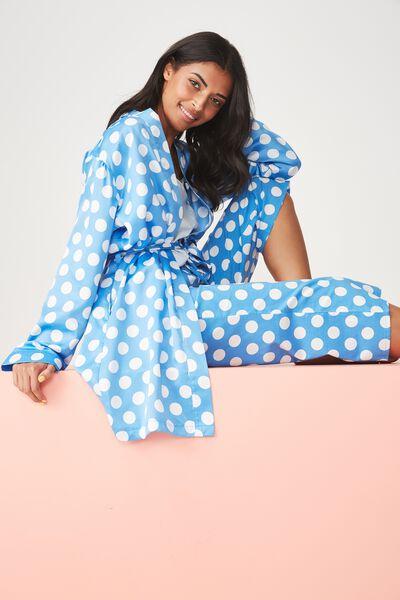 Satin Sleep Robe, BLUE SPOT