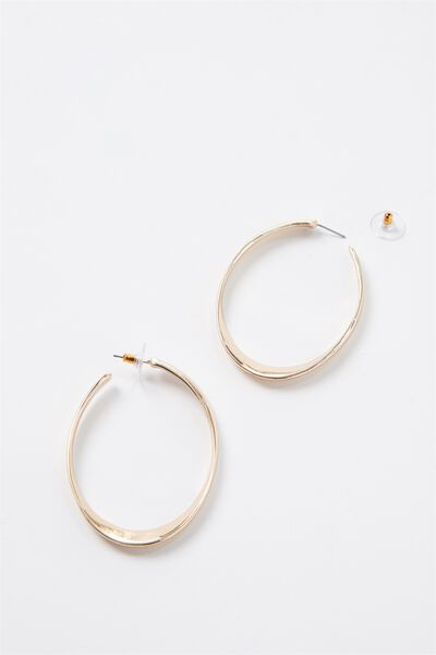 Thick Gold Oval Hoop Earrings, GOLD