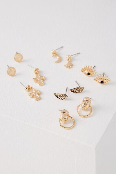 Paris Stud Earring Pack, GOLD