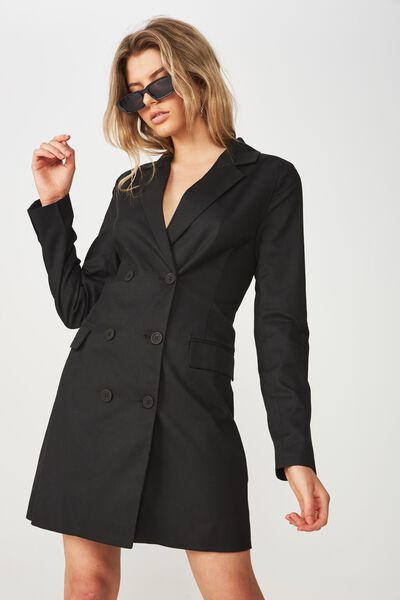 Bianca Blazer Dress, BLACK