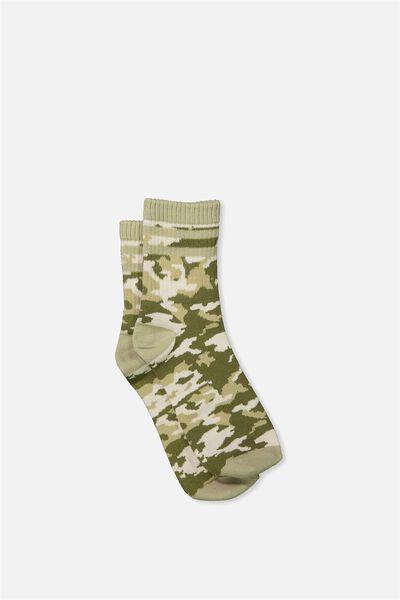 90S Crew Stripe Camo Socks, KHAKI CAMO