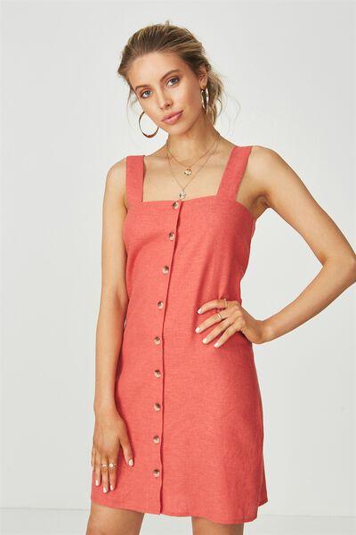 Penny Button Through Linen Dress, RUST