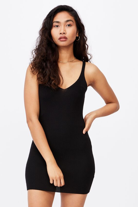 Felicity V-Neck Knit Dress, BLACK
