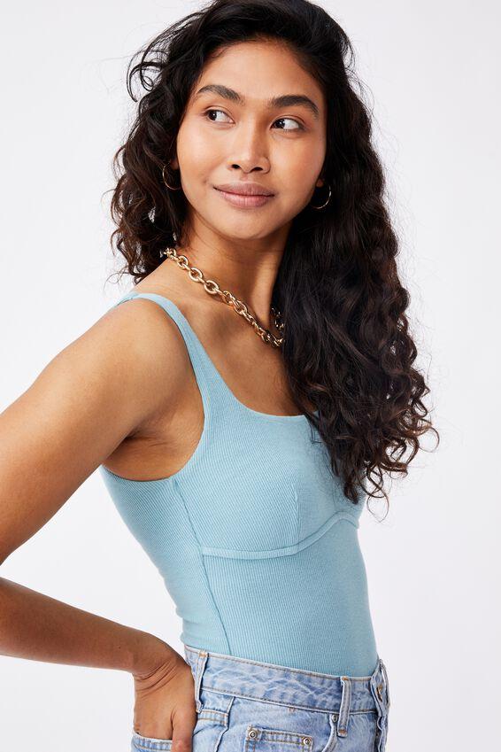 Gabrielle Rib Bodysuit, CHALKY TEAL
