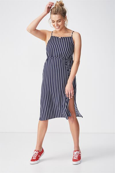 Phoenix Strappy Midi Dress, NAVY SAILOR STRIPE