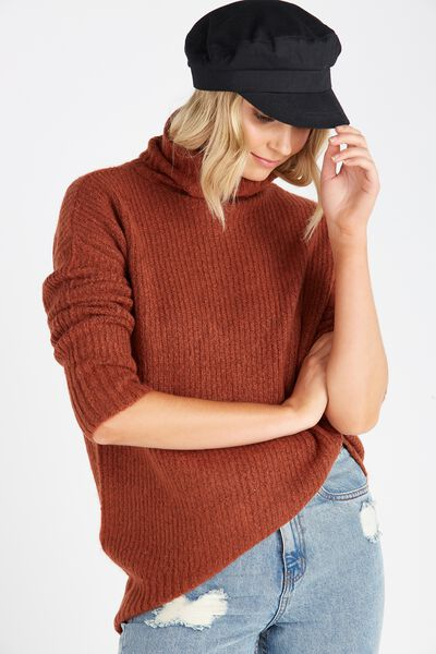 Ruby Cosy Roll Neck Sweater, TOFFEE
