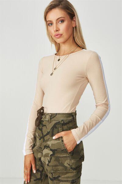 Long Sleeve Scoop Bodysuit, STONE