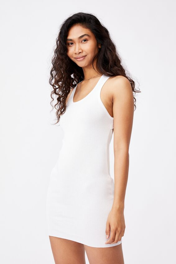 India Cutout Mini Dress, WHITE