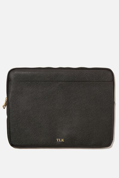 Personalised Laptop Case, BLACK TEXTURE/GOLD
