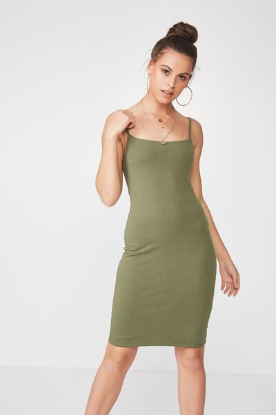 Basic Square Neck Cami Dress, OLIVE NIGHT
