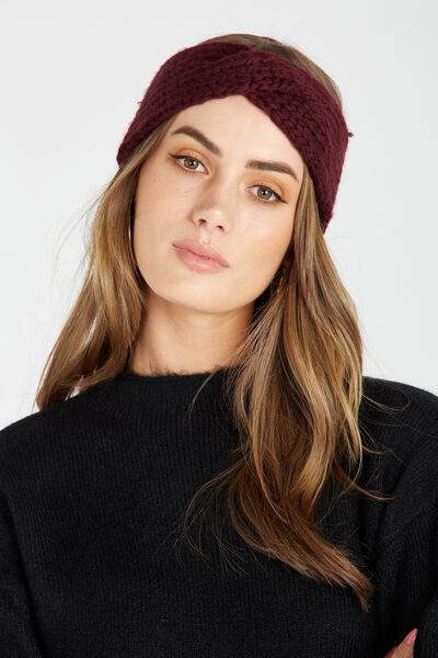 Knitted Turban Headband, WINE