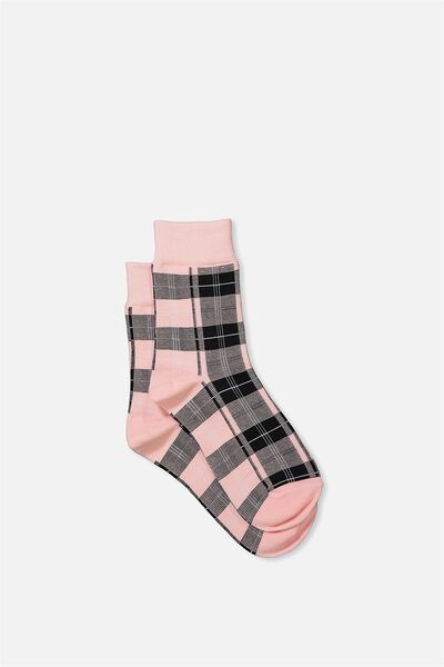 90S Check Socks, BABY PINK HERITAGE
