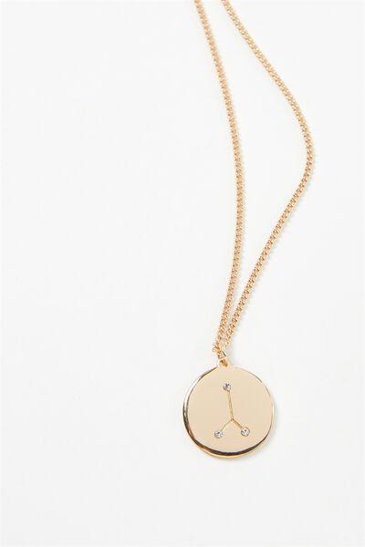 Horoscope Necklace, CANCER/GOLD