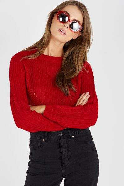 The Harper Knit Top, RED