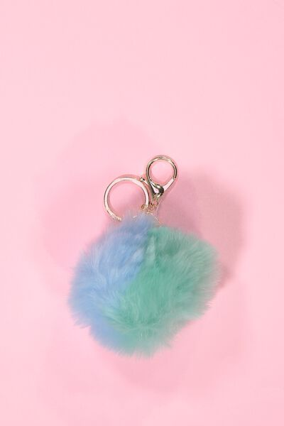 Multi Faux Fur Keyring, MINT/BLUE