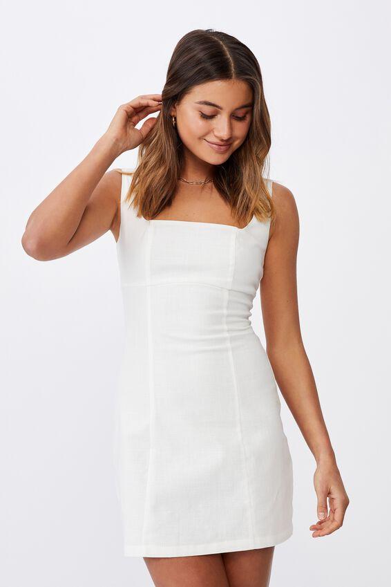 Capri Fitted Square Neck Mini Dress, WHITE