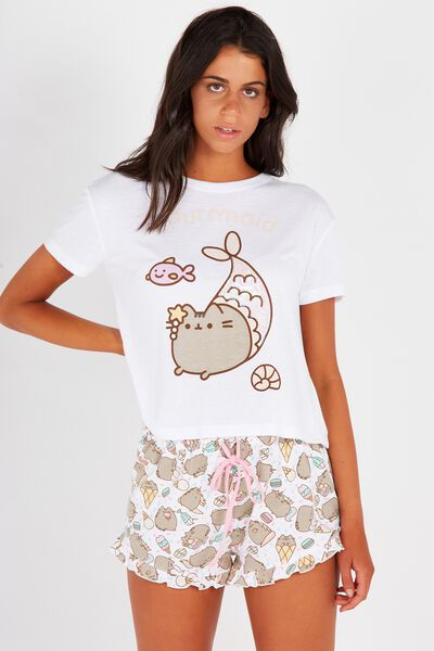 License Pusheen Sleep Tee, GREY MARLE/PUSHEEN
