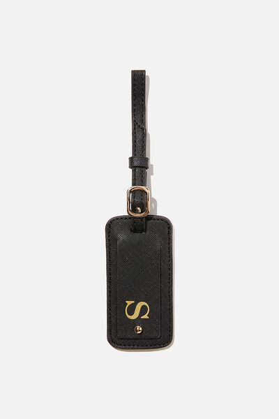 Personalised Travel Tag, BLACK TEXTURE/GOLD