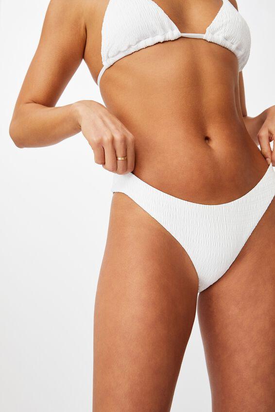 Honolulu High Cut Bikini Bottom, WHITE/SHIRRED