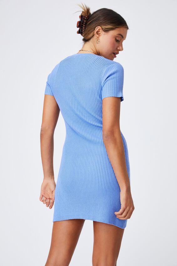 Corinne Buttoned Mini Dress, BONNIE BLUE