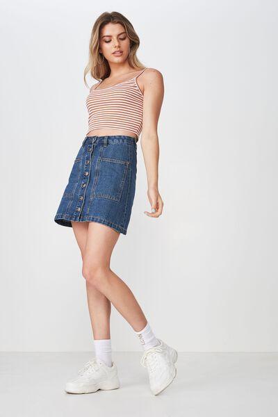 Olsen Button Through Mini Skirt, INDIGO BLUE