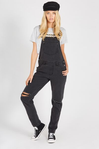 Washed Black Distressed Denim Overall, WASHED BLACK