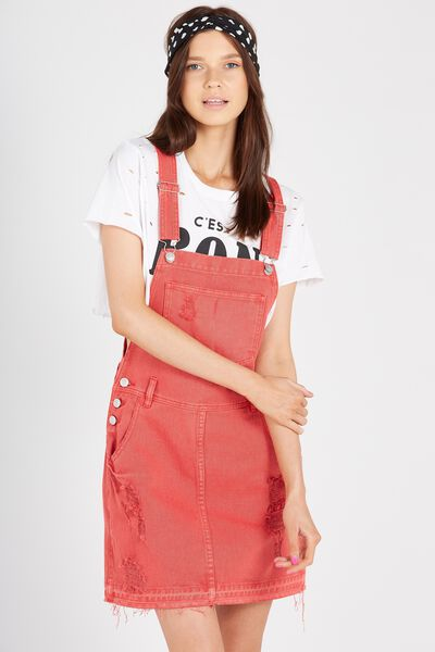 The Black Denim Pinafore, WASHED RED