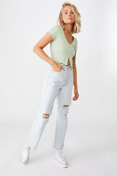 Bria Short Sleeve Button Up Tee, DREAM MINT