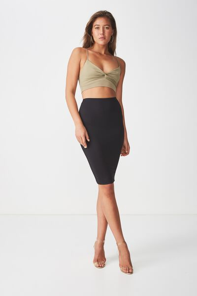 Party Midi Bodycon Skirt, BLACK