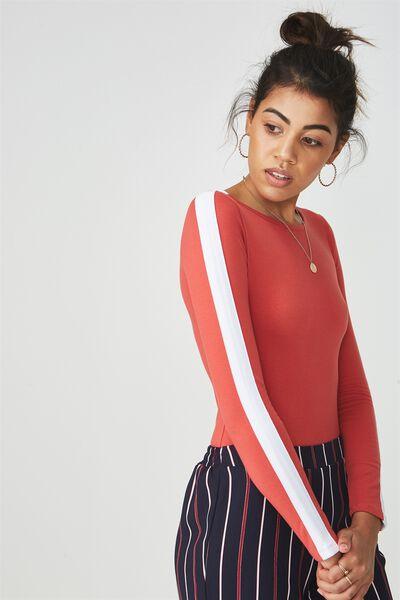 Long Sleeve Scoop Bodysuit, RUST