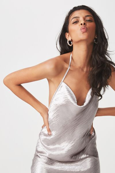 Cowl Neck Party Dress, SILVER