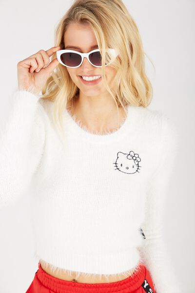 Fluffy Hello Kitty Crop Knit, WHITE/HELLO KITTY