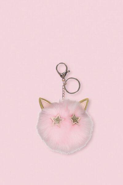 Faux Fur Star Bunny Keyring, BLUSH