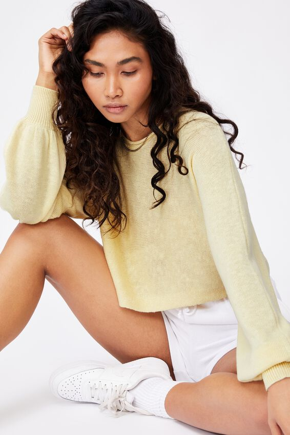 Holly Puff Sleeve Knit, DOUBLE CREAM