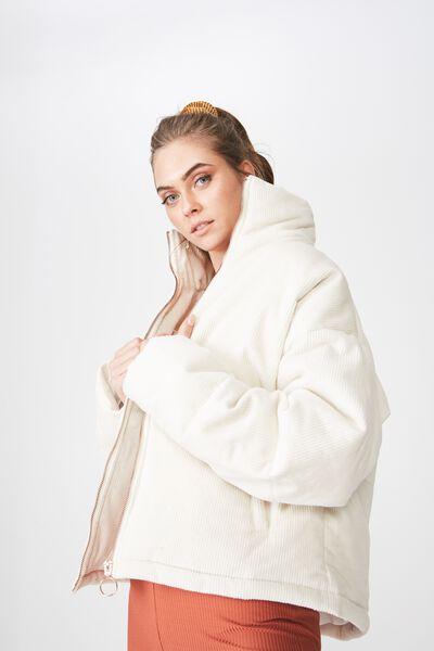 Dawn Cord Zip Up Puffer Jacket, CREAM PUFF