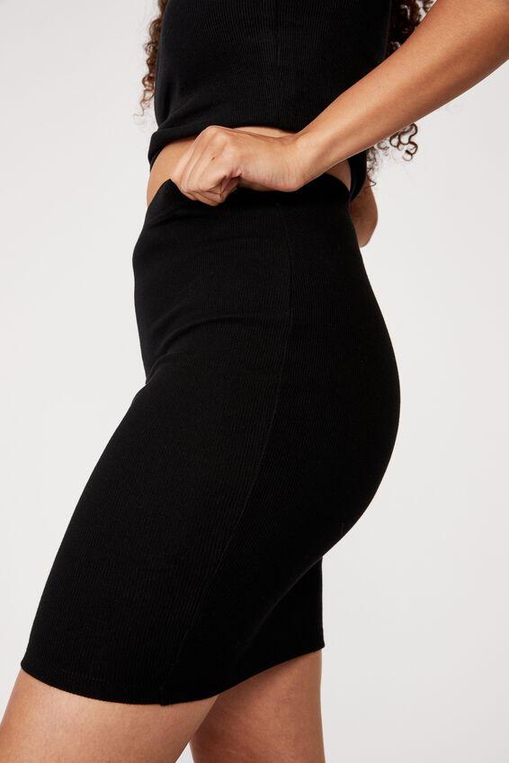 Kennedy Rib Mini Skirt, BLACK