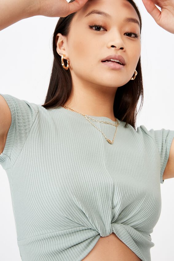 Carly Knot Front Crew Tee, SOFT MOSS