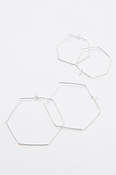 Hexagon Hoop Pack, SILVER