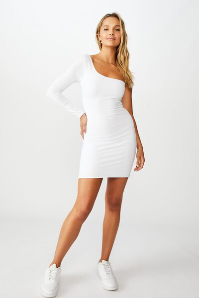 Madison One Shoulder Long Sleeve Dress, WHITE