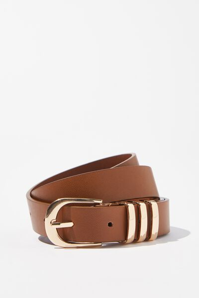 Delilah Triple Beltloop Belt, TAN/GOLD