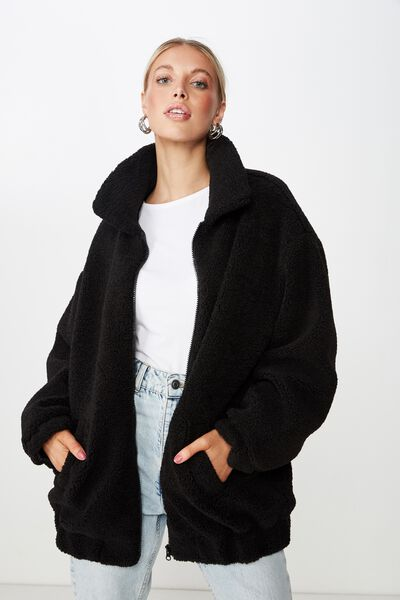 Oversized Faux Sherpa Jacket, BLACK