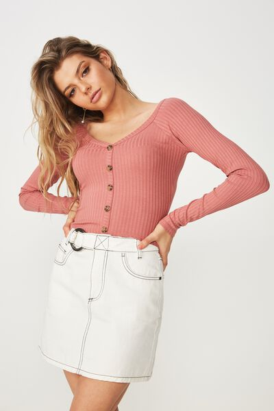 Mika Long Sleeve V Neck Button Top, TERRACOTTA