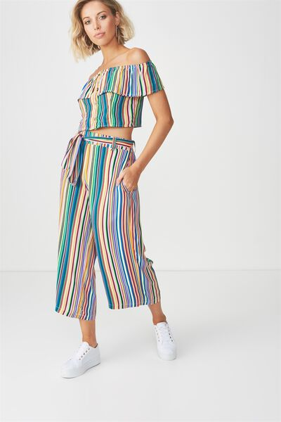 Crop Tie Waist Pant, MULTI RAINBOW STRIPE