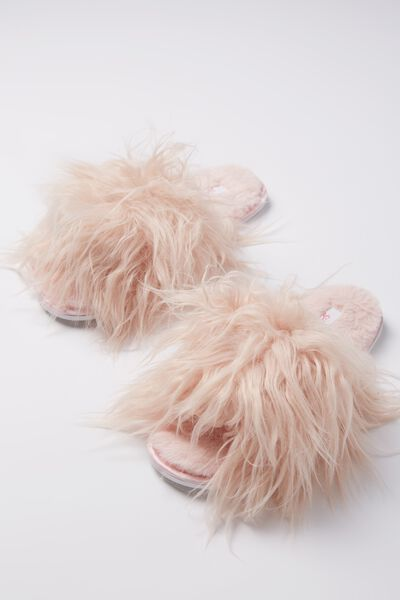 Furry Slipper Slides, BLUSH