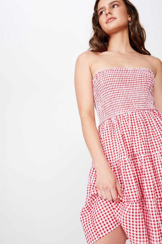 Venice Shirred Strapless Frill Dress, RED & WHITE GINGHAM