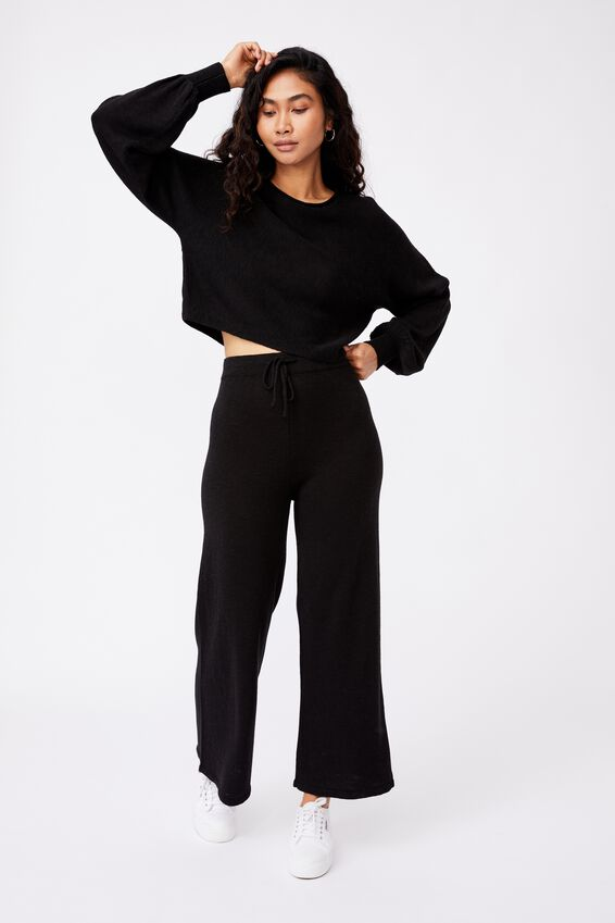 Holly Puff Sleeve Knit, BLACK