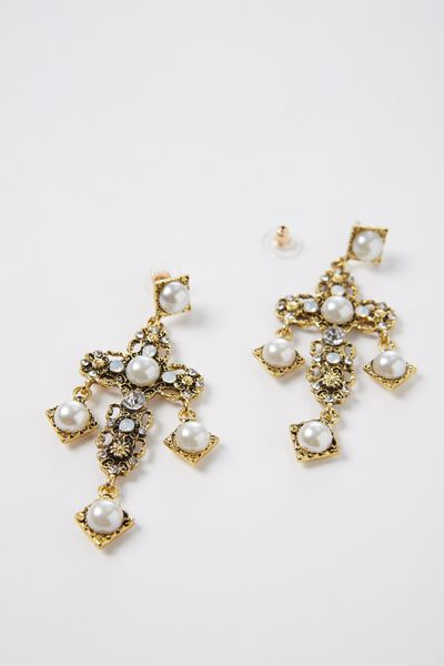 Pearl Cross Earrings, GOLD